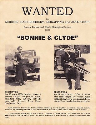 WANTED - BONNIE & CLYDE  -  Stampa 20,5x26,5