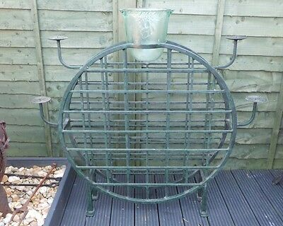 Large Round Cast Iron Oriental Style 36 Bottle Wine Rack W Glass Cooler & Candle