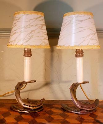 2x VINTAGE Retro French Horseshoe Riding Cowboy Light Table Lamps Shades Kitsch