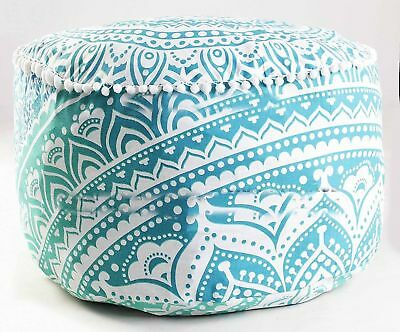 Indian Mandala Round Ottoman Pouf Cover Large Footstool Boho Hippie Floor Pouffe