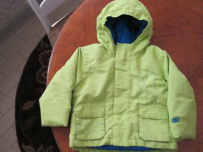 Toddler Slalom mid weight hooded winter jacket lime green Excellent Cond. 3T