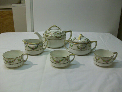 Antique Hand Painted Nippon Tea Pot, Creamer, Sugar & 3 Cups - circa 1912