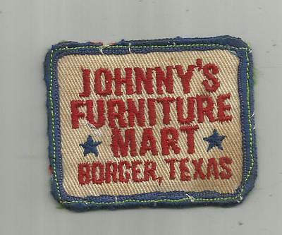 Vintage Johnny's Furniture Mart Borger Tx Texas Patch  2 3/4 Inches Wide Sewn