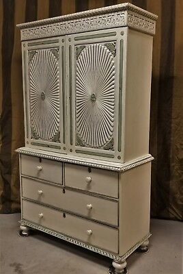 Antique Sunburst Carved Rosewood Armoire Cabinet Gustavian Painted French Green