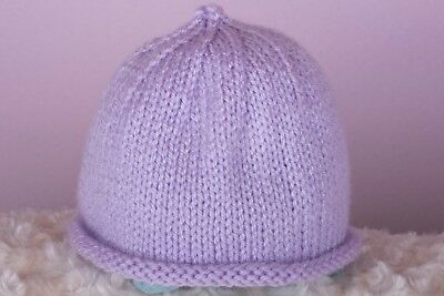Lilac Hand knitted baby hat