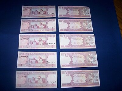 Lot of 10 Afghanistan Bank Notes 1 Afghani