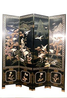 Antique Black Lacquer Chinese Floor Screen/Jade Stone/Mother of Pearl Inlay/5378
