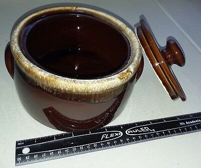 McCoy Brown Drip Glaze Pottery Oven Baking Bowl With Lid