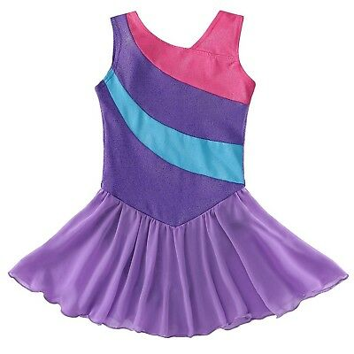Kidsparadisy Gymnastics Wrap Skirted Leotards for Girls Ribbon Ballet Costume