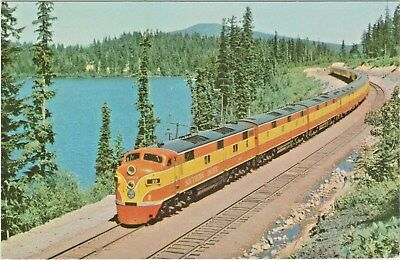 Southern Pacific Railroad Shasta Daylight Streamliner passing Lake Odell, Oregon