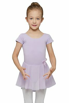 MdnMd Girls' Skirted Short Sleeve Leotard Lilac 8-10 Years