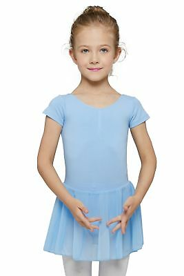 MdnMd Girls' Short Sleeve Skirted Leotard Blue (Tag 130) Age 6-8