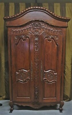 Antique 19C Highly Carved French Normandie Armoire Wardrobe Double Doors Shelves