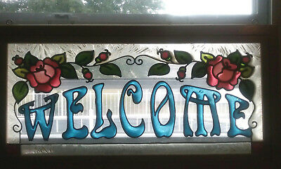 Vintage Welcome Sign Stained Glass Style Window Wood Frame Floral Hanging Pane