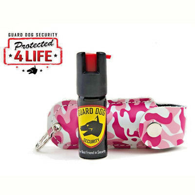 GUARD DOG Pink Camo Personal Defense Pepper Spray OC-18 1/2 oz Leather Case