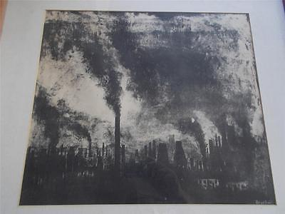 Vintage Original Signed INDUSTRIAL ART Cityscape Charcoal Drawing Northern City
