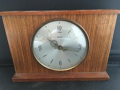 Vintage 1960s 1962 Mark 1 Smths Sectronic Battery Mantle Clock Wood & Brass GB
