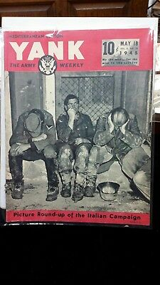 """Lot of 6 Vintage 1945 """"YANK The Army Weekly"""" Magazines WW2 Era Military"""