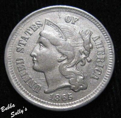 1865 III Cent Nickel <> EXTREMELY FINE +