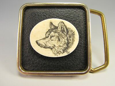 Vintage leather/brass belt buckle scrimshaw bovine bone wolf engraving
