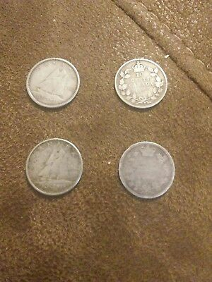 Lot of 4 Different Canadian Dimes Silver 1963 1960 1917 19??