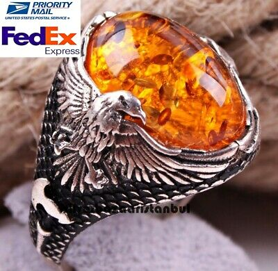Turkish handmade 925 Sterling Silver orange amber stone Mens Gift ring ALL SİZE