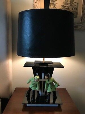 Vintage 1950s Rare Moss Lucite ASIAN  Pair of Lamps Mid Century GREAT!!!