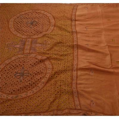 Sanskriti Antique Vintage Saree Pure Silk Hand Beaded Fabric Premium 5Yd Sari