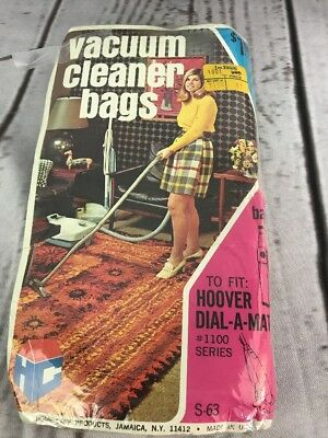Vintage Hoover Upright Vacuum Cleaner Bags Advertising NIP Dial-A-Matic #1100