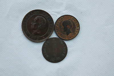 Haiti Bronze Coins, 1 Centimes 1846, 10 Centimes and 20 Centimes 1863, nice item