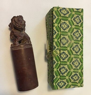 Vintage Chinese Carved Wax Seal Stamp With Original Box Antique Souvenir