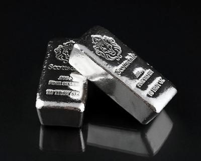 """2 x 10 oz Silver Bars by Scottsdale Mint Loaf Poured """"Chunky"""" .999 Silver #A411"""