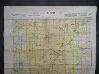 No(1) c1944 WWII 14th Forgotten Army Burma Campaign Map Lower Chindwin & Railway
