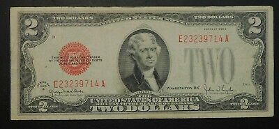 1928 G $2 Note Red Seal NICE Check Pics!!