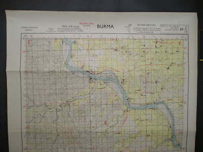No(3) c1944 WWII Fourteenth Forgotten Army Burma Campaign Map Chindwin District