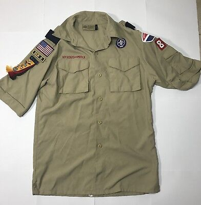 Boy Scouts Of America Uniform Shirt Youth Large With Patches And Pins