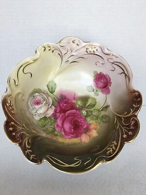 "10.5"" Diameter Hand Painted Ceramic Bowl with Roses and Gold Accents"