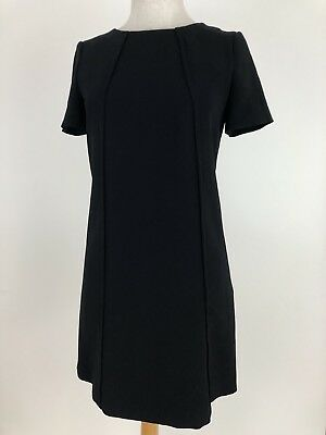 c559654430f2 Massimo Dutti Womens Dress 4 Shift Dress Black Lined Capped Sleeve Occassion