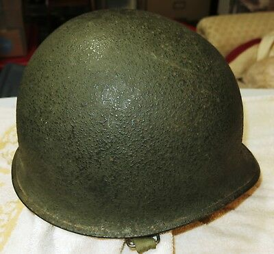 Named Original WWII M1 US Military Steel Helmet Front Seam Swivel Bale WW2
