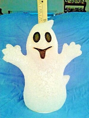 Season Halloween Light Up Plastic Ghost And Melted Plastic Pumpkin Nwt