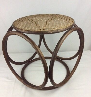 Vintage Mid Century Bent Wood Table Cane Top 1970s Hippie Boho Occasional Side