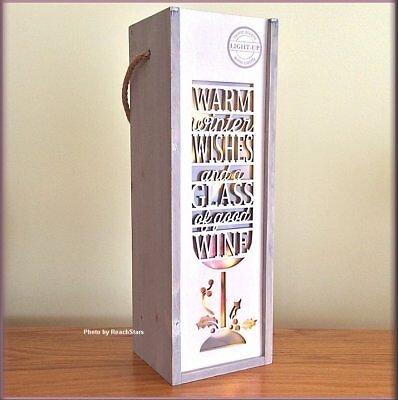 Warm Winter Wishes and Good Wine Lighted Wine Bottle Gift Carrier Wood Lantern