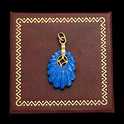 Antique Vintage Deco Gold Filled GF Chinese Carved Lapis Lazuli Charm Pendant