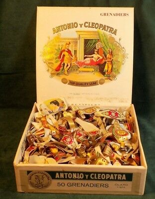 Vintage Cigar Labels Wrappers With Cigar Box