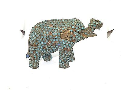 Vintage Antique Inlaid Turquoise Coral Elephant Statue Figure