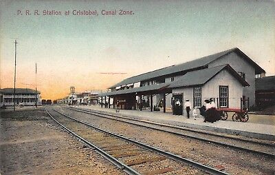 CANAL ZONE - RARE! 1900's Railroad Station Depot at Cristobal Isthmus of Panama