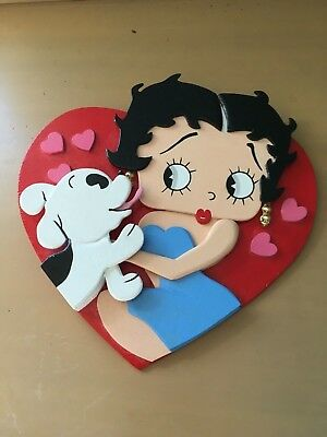 Vintage Style Betty Boop Wood Figurine Figure Hand Painted Wall Hanging
