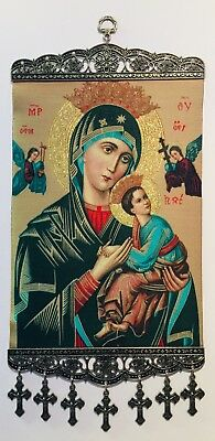 """Madonna Caressing Christ Child, Christian Icon Tapestry Wall, XL New (~8""""x11"""")"""
