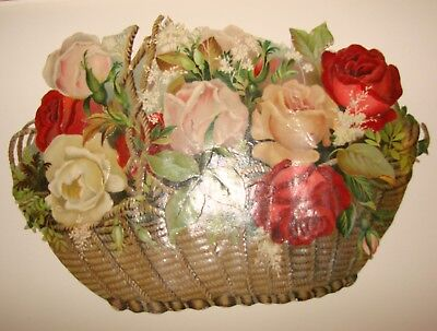 "1800's Victorian Large Roses and Basket Die Cut - Scrap, 9"" Tall"