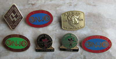 1960s-70s NATIONAL WESTERN STOCK SHOW Pin Back Lot (7) Farm Cow Bull Original
